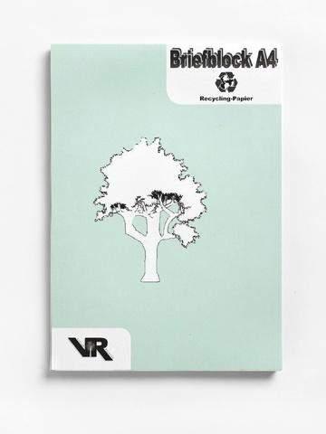Briefblock A4 RC grau 50 Blatt mit Deckblatt kariert