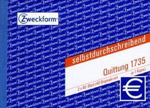Quittungsblock Zweckform 1735 A6 quer 2x40 Bl. 1.+2. bedruckt