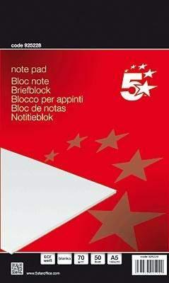 Briefblock DIN A5 50 Blatt holzfrei 70g weiß blanko