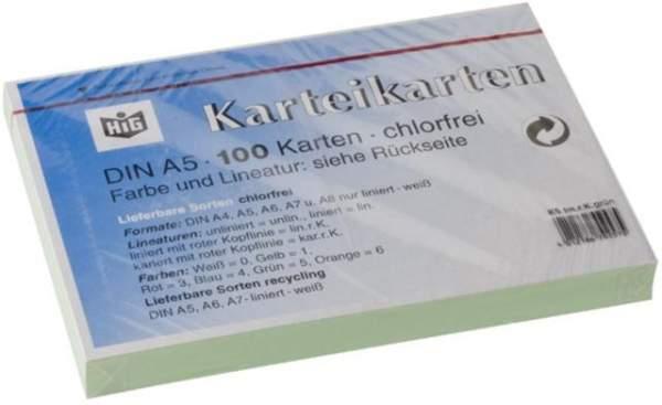 Karteikarten liniert DIN A5 190 g/m² grün (Pckg. á 100 Stück)