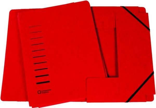 Eckspanner Sammelmappe 3 Klappen A4 Karton 325g/m² rot