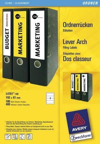 Rückenschilder PC Zweckform 4761 192x61 weiß /Pckg. á 400St.