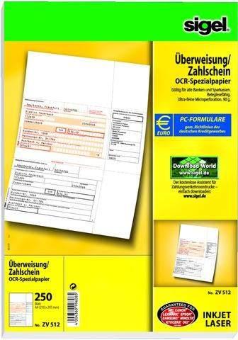 Überweisungsformular f. PC Bankformular Sigel ZV512 / 1 Pckg.