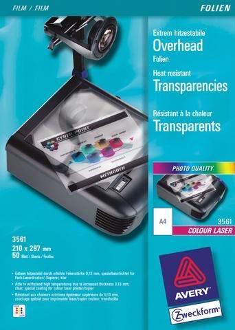 Farblaser-/-kopierfolie A4 0,13mm farblos Zweckform 3561 Pckg. á 50 Stück