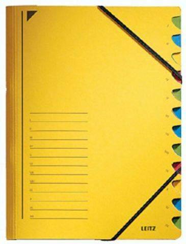 Ordnungsmappe Leitz 3912 A4 12 Fächer Eckspanner 450g gelb 1S
