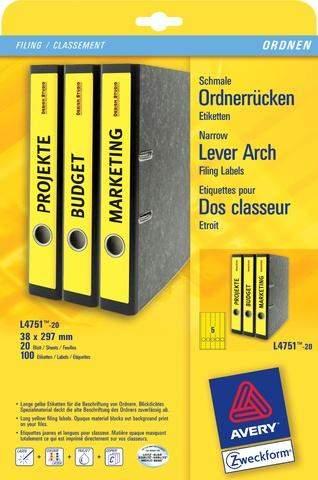 Rückenschilder PC 297x38mm Zweckform 4751 gelb Pck=100St.