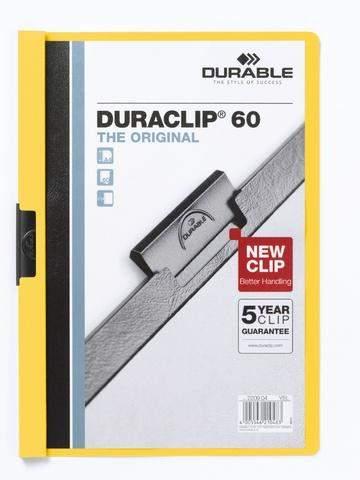 """Klemm-Mappe """"Duraclip"""" DIN A4 gelb f. 60 Blatt / 1 Stück"""